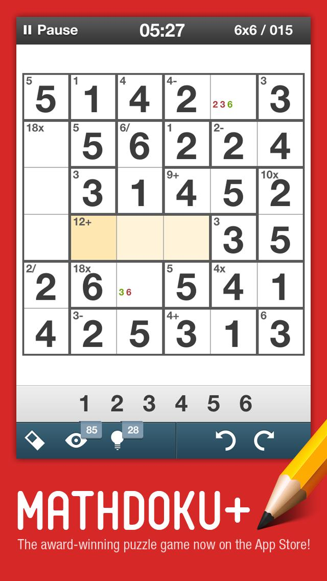 Mathdoku plus Sudoku Style Math & Logic Puzzle Game